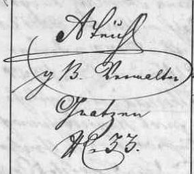 """Zde je v novohradské matrice """"hraběcí buquoyský správce"""" podepsán i s novohradskou svou adresou"""