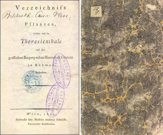 Titulní list a obálka (1813) soupisu rostlin v Terčině údolí, jak se z knihovny novohradského kláštera servitů uchovaly ve fondu Jihočeské vědecké knihovny
