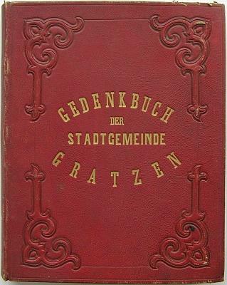 Záznam o jeho jmenování čestným občanem Nových Hradů roku 1897 v pamětní knize města