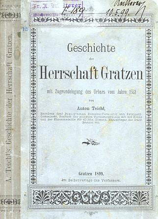 Obálka jeho dějin panství Nové Hrady (1899), ze soukromé knihovny F.X. Reitterera