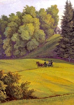"""Tzv. """"Židovský pavilon"""" na vrchu nad Lázničkami na obraze Josefa Schütze zpoloviny 19. století"""