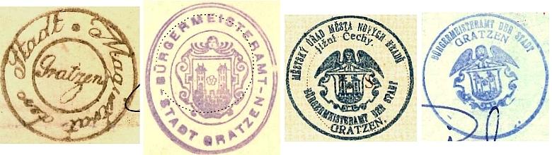Úřední razítka města Nové Hrady z let 1870 až 1939