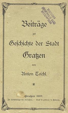 """Obálka (1908) poslední z řady jeho knih, zde i s razítkem někdejšího jejího majitele, jímž bylo budějovické sdružení """"Deutscher Böhmerwald-Bund"""""""