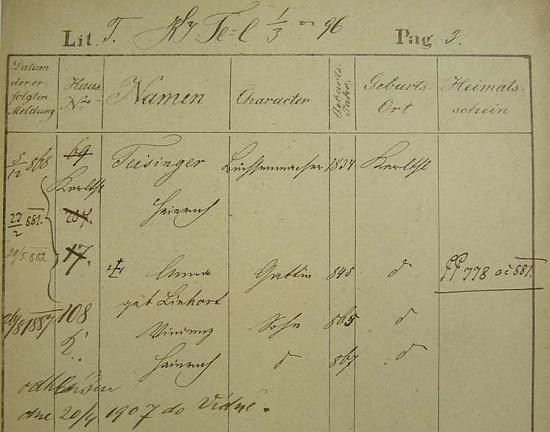 Pobytová přihláška jeho otce, kartáčníka Heinricha Teisingera, narozeného v roce 1934 v karlíně (Karlthal), jeho ženy Anny, roz. Linhartové,  a syna Vinzenze (*1865) a Heinricha (*1867) u pražského policejního ředitelství - přípis nás informuje o odhlášení Teisingerově do Vídně v dubnu roku 1907