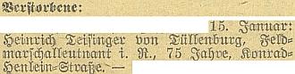 Protektokátní Budweiser Zeitung takto stručně oznámil jeho úmrtí - Pražská třída se tehdy jmenovala Konrad-Henlein-Straße