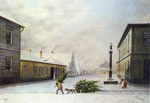 Vánoční motiv s mariánským sloupem na rohu Pražské třídy a Pekárenské ulice na jeho obraze, zachycujícím zaniklý svět starých Budějovic