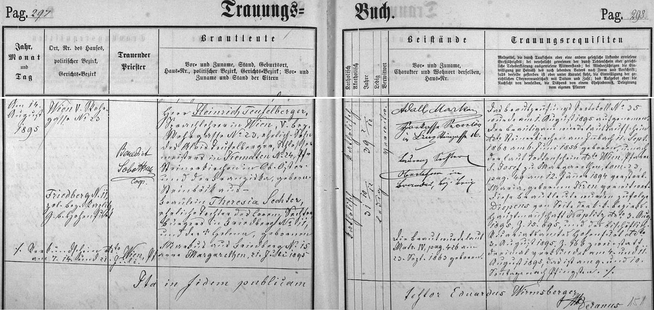 Už jako vdovec se podle tohoto záznamu frymburské oddací matriky tady jako takřka čtyřicetiletý v srpnu roku 1895 podruhé oženil
