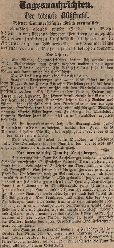 Podrobná zpráva o jeho konci ve vídeňském tisku