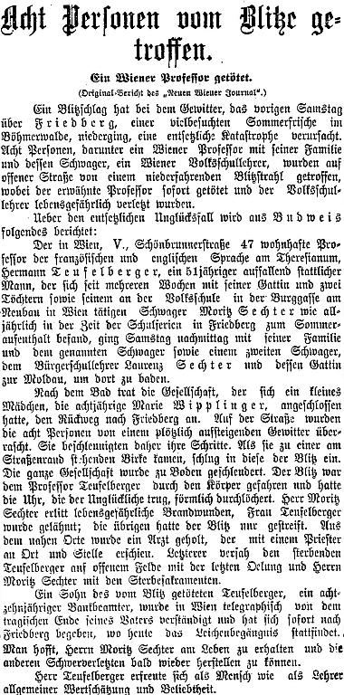 Zpráva jiného vídeňského listu o frymburském neštěstí, došlá zČeských Budějovic