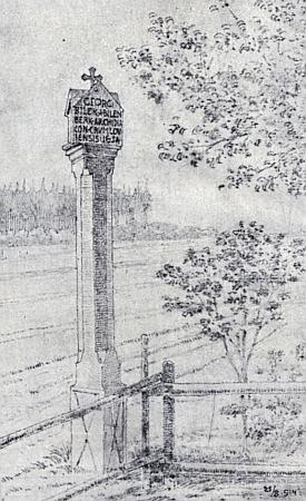 Už zmizelá boží muka z roku 16954 při cestě ze Sklář do Drahoslavic s latinským nápisem připomínajícím českokrumlovského preláta Jířího Bílka z Bílenberka