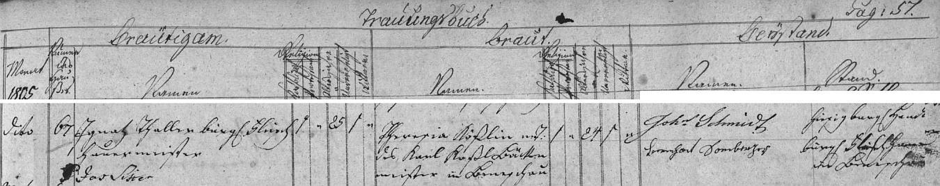 Svatba jeho rodičů v říjnu 1805, jak ji zaznamenává českokrumlovská oddací matrika