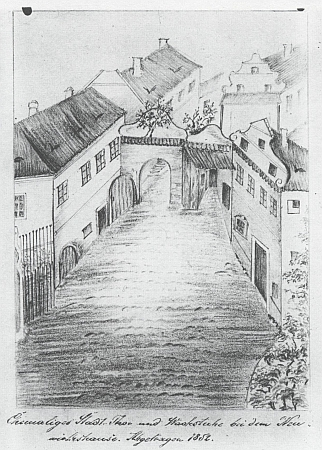 Horní brána a strážnice u Nové hospody na dvou jeho kresbách