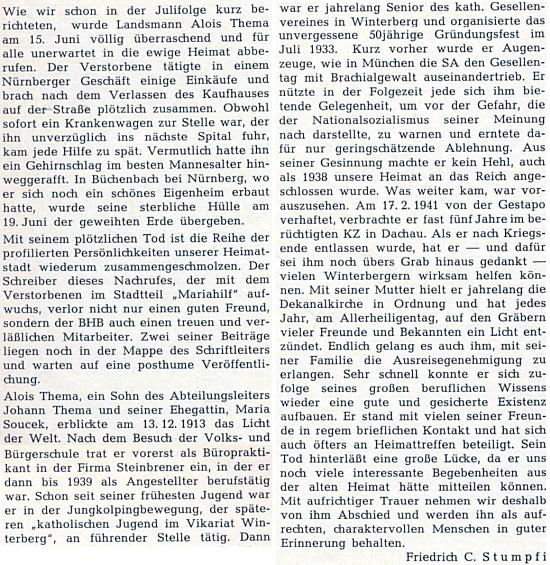 Nekrolog jeho bratra Aloise, v letech 1941-1945 vězně koncentračního tábora v Dachau, od Friedricha C. Stumpfiho