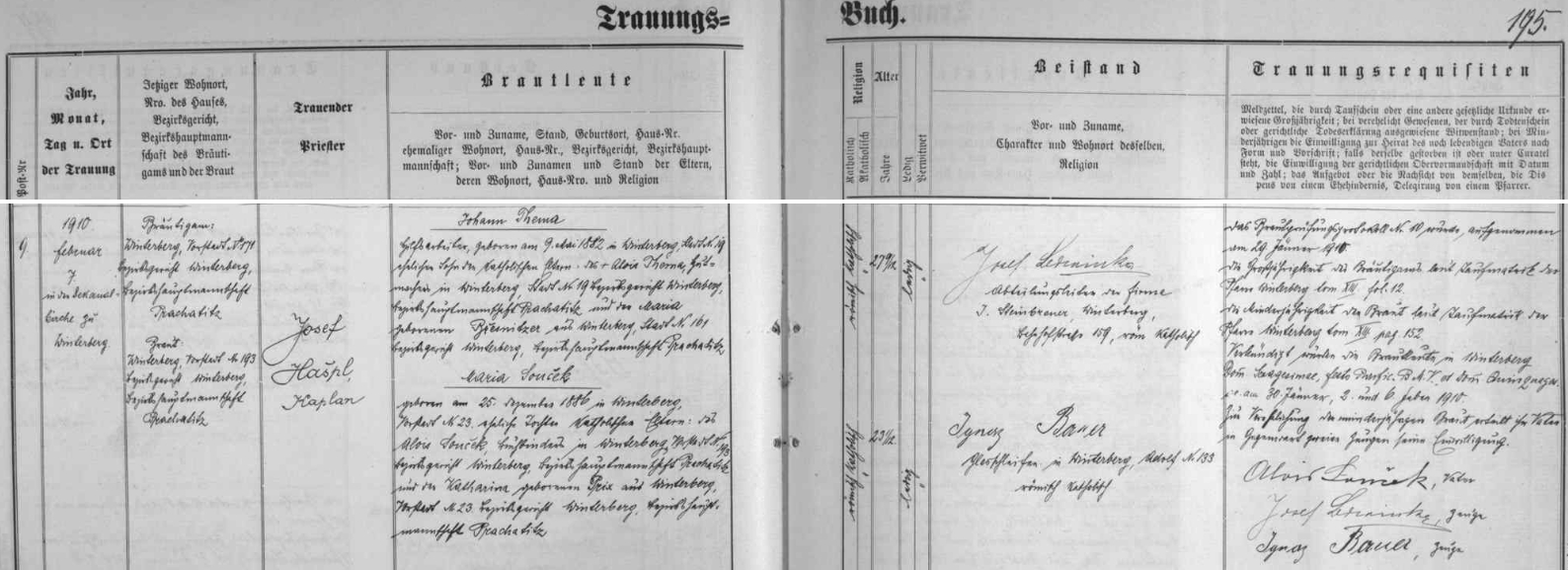 Záznam vimperské oddací matriky o svatbě jeho rodičů