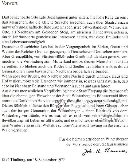 Jeho předmluva ke knize Winterberg im Böhmerwald od Fritze Pimmera