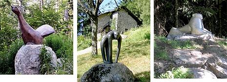 U jeho domu s ateliérem ve Waldhäuser am Lusen stojí také tyto tři zvířecí plastiky ve volné přírodě