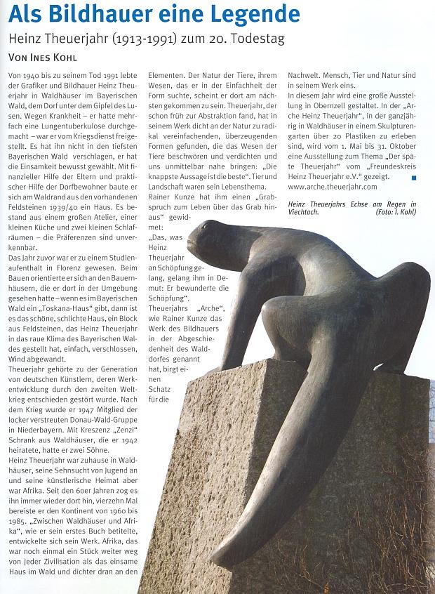 """Článek k 20. výročí úmrtí, zdobený snímkem jeho sochy """"Ještěrka"""" při řece Regen (Řezná) u Viechtachu"""