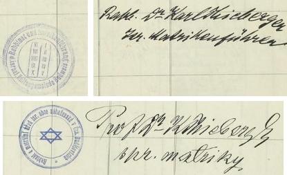 """Podpis """"správce matriky"""" i s razítkem z let 1911 a 1929"""