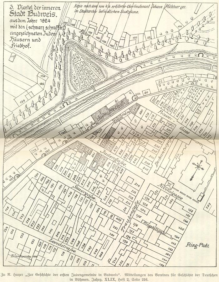 """Kresba, jejímž autorem je Franz Landspersky, zachycuje ve """"třetí čtvrti vnitřního města"""" šrafovaně domy a hřbitov českobudějovických Židů podle stavu v roce 1824"""