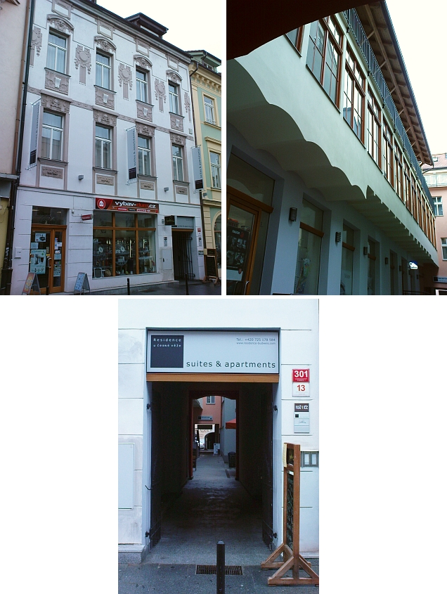 Na místě tohoto domu v ulici U Černé věže stávala první českobudějovická synagoga
