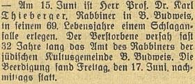 Zpráva o jeho úmrtí a datu pohřbu vbudějovickém německém tisku