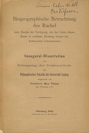 Obálka jeho disertace s autorským věnováním