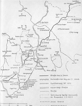 Plánek zachycující Vintířovy cesty po Bavorsku a do Čech