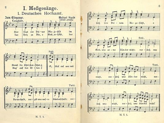 Úvodní notový záznam zpěvníku s autorskými iniciálami dole