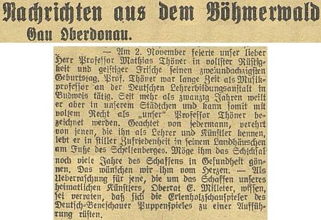 """O jeho 82. narozeninách 2. listopadu 1943 v rubrice """"župy Horní Dunaj"""" na stránkách budějovického německého listu"""