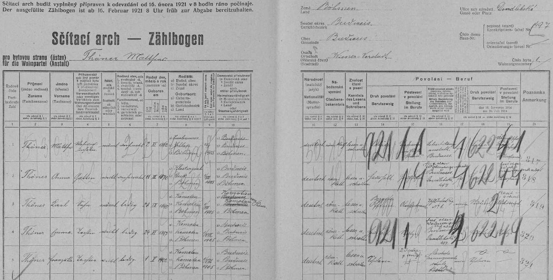 Vlastní rukou tu v českobudějovickém domě čp. 497 na Doudlebské (dnes Dukelské) ulici zaznamenal na archu sčítání lidu z roku 1921 data svá (označil se jako penzionovaný profesor německého učitelského ústavu v Českých Budějovicích), své ženy Anny, narozené 11. března 1870 v obci Klostergrab (dnes Hrob, okr. Teplice), tehdejší okres Duchcov (Dux), syna Karla, abiturienta reálky a nadporučíka čs. pěšího pluku č. 1, narozeného 28. září 1895 vChomutově (Komotau), jakož i dcer Emmy, narozené 24. června 1897 vChomutově, a Franzisky, narozené rovněž vChomutově dne 1. května roku 1902