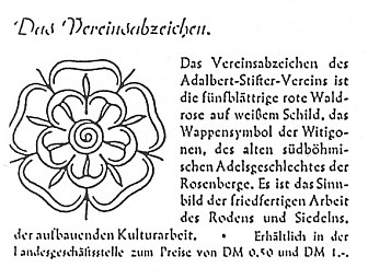 Prvý leták Adalbert Stifter Verein se symbolem rožmberské růže (1951)