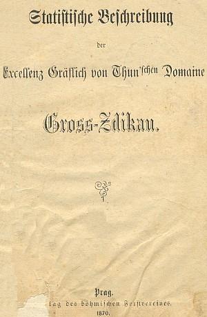 Titulní list (1870) podrobného popisu hraběcího thunovského panství Zdíkov v Píseckém kraji, vydaného Českou lesnickou jednotou
