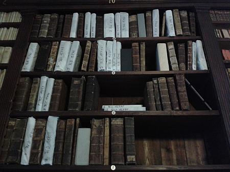 Na těchto regálech v zámecké knihovně v Českém Krumlově jsou knihy, které byly součástí knihovny Václava zRovného