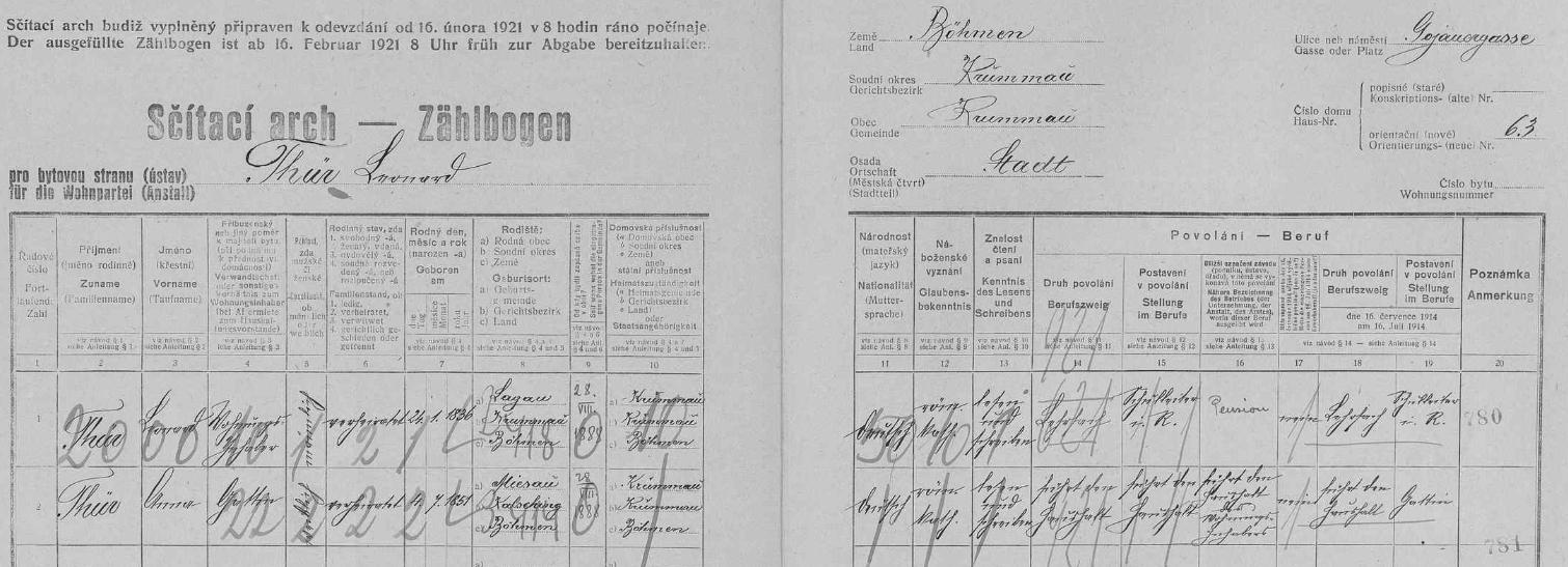 Arch sčítání lidu z roku 1921 pro dům v českokrumlovské Kájovské ulici (Gojauergasse) čp. 63, kde žil se svou ženou Annou (*4. července 1851 ve dnes zcela zaniklé osadě Vyšný /Miesau/) od 28. srpna 1888
