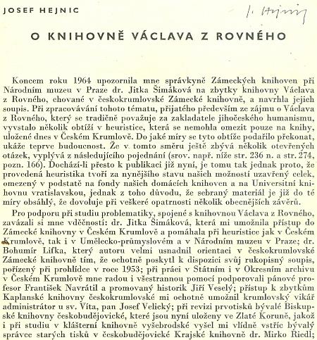 """Úvod článku Josefa Hejnice """"O knihovně Václava z Rovného"""""""