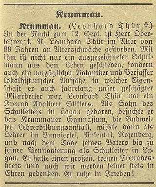 """Nekrolog v Budweiser Zeitung připomíná i skutečnost, že byl """"přítelem Adalberta Stiftera"""""""