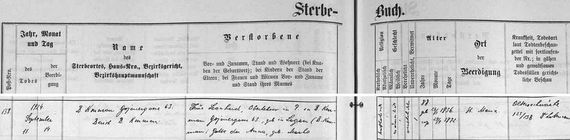 """Podle záznamu v českokrumlovské """"Knize zemřelých"""" skonal 11. září 1924 v Kájovské ulici čp. 63 - dovídáme se i to, že jeho choť Anna měla rodné příjmení Macho, že zemřel na """"stařeckou slabost"""" a že byl pochován na českokrumlovském hřbitově Panny Marie"""