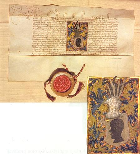 Touto listinou z 3. března roku 1488 uděluje král Vladislav II. Václavovi z Rovného erb a povyšuje ho do šlechtického stavu