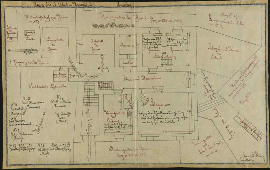 Plán školní a farní budovy ve Slavkově, jak jej nakreslil do školní kroniky