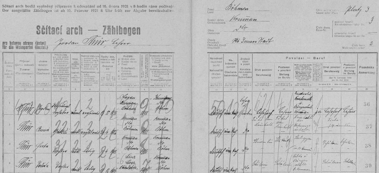 Arch sčítání lidu z roku 1921 pro dům čp. 3 na českokrumlovském náměstí s rodinou učitele Jordana Thüra