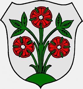 Znak města Ober-Ramstadt, kde Jordan Thür zemřel