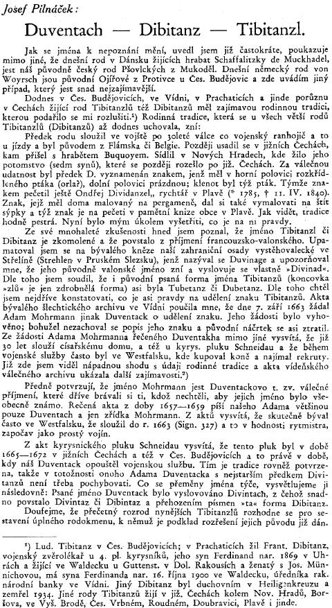Nečekané rozřešení původu příjmení Tibitanzl hovoří o evropských souřadnicích i některých selských našich jihočeských rodů