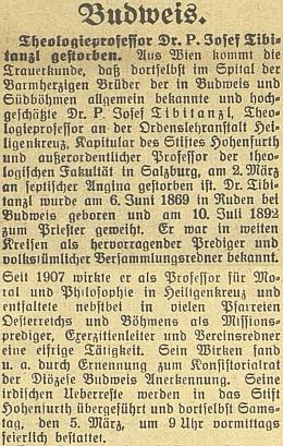 Nekrolog v budějovickém německém listě