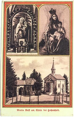 """Svatý obrázek"" z Maria Rast zachycuje Mariinu sochu s korunou"