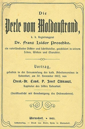 Obálka (1903) knižního vydání jeho přednášky o Franzi Isidoru Proschkovi