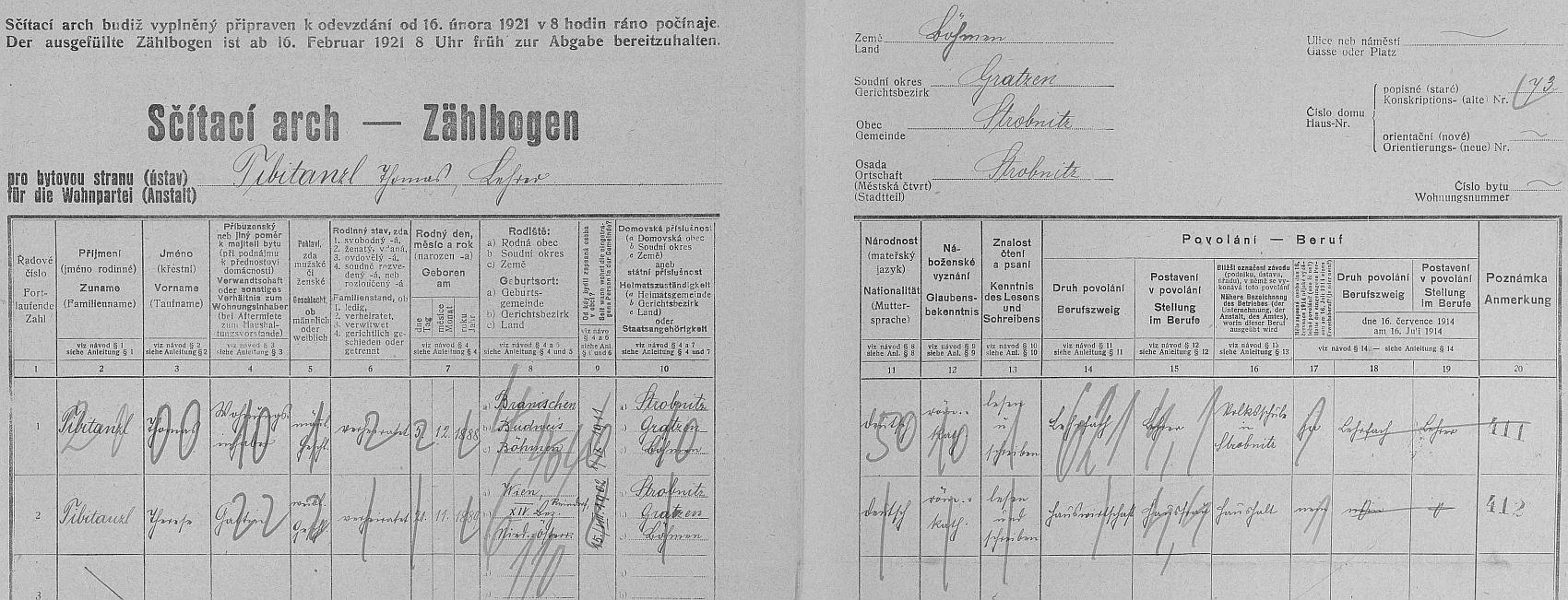 Arch sčítání lidu z roku 1921 pro dům čp. 73 v Horní Stropnici, kde bydlel se svou ženou a oba uvedli, že jsou národnosti německé