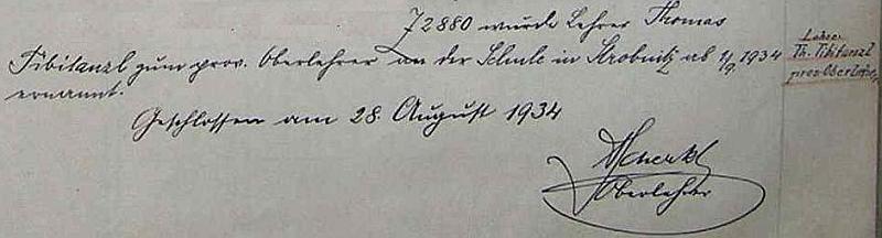 Zápis ve školní kronice o tom, že po Adalbertu Scherklovi provizorně převzal vedení školy v Horní Stropnici