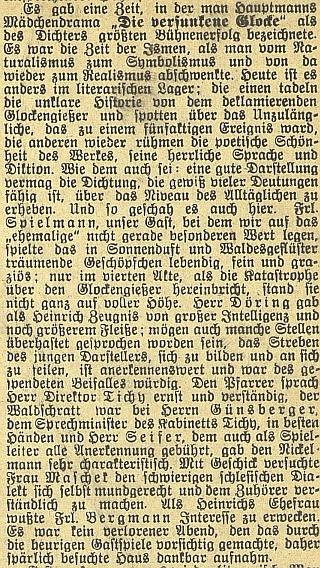 """V lednu 1912 účinkoval na zdejší scéně jako farář ve veršovaném dramatu """"Potopený zvon"""", jehož autor Gerhart Hauptmann se stal téhož roku nositelem Nobelovy ceny za literaturu - návštěva byla ovšem """"sporá"""""""