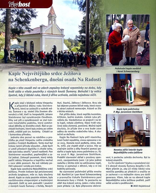 Obnovená kaple Nějsvětějšího srdce Ježíšova Na Radosti, blízko níž je umístěna informační tabule s citacemi zKohoutího kříže, v den slavnostního obřadu 21. října 2016, kterého se zúčastnila i Annemarie Kuryová zVídně