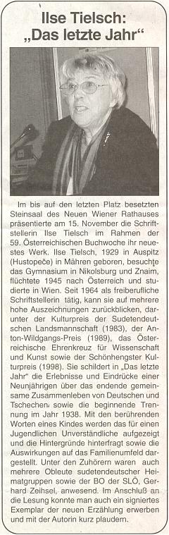 Zpráva o jejím vystoupení na Rakouském knižním týdnu v kamenném sále vídeňské Nové radnice vlistopadu 2006